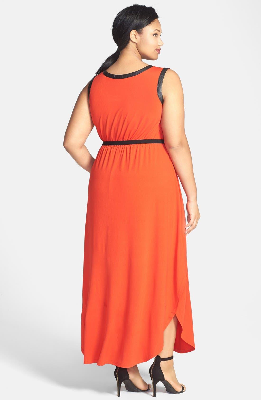 Alternate Image 2  - City Chic 'Grecian' Faux Leather Trim Keyhole Maxi Dress (Plus Size)