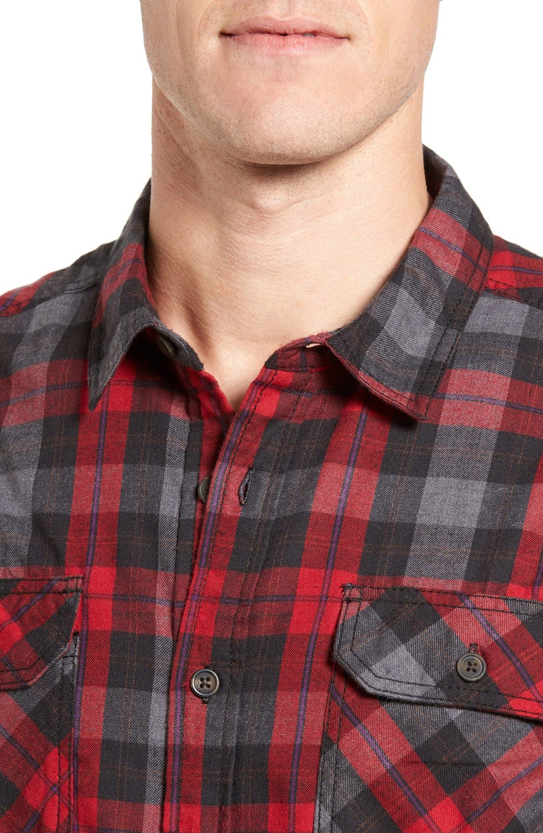 Burner Regular Fit Plaid Flannel Shirt,                             Alternate thumbnail 4, color,                             Fiery Red