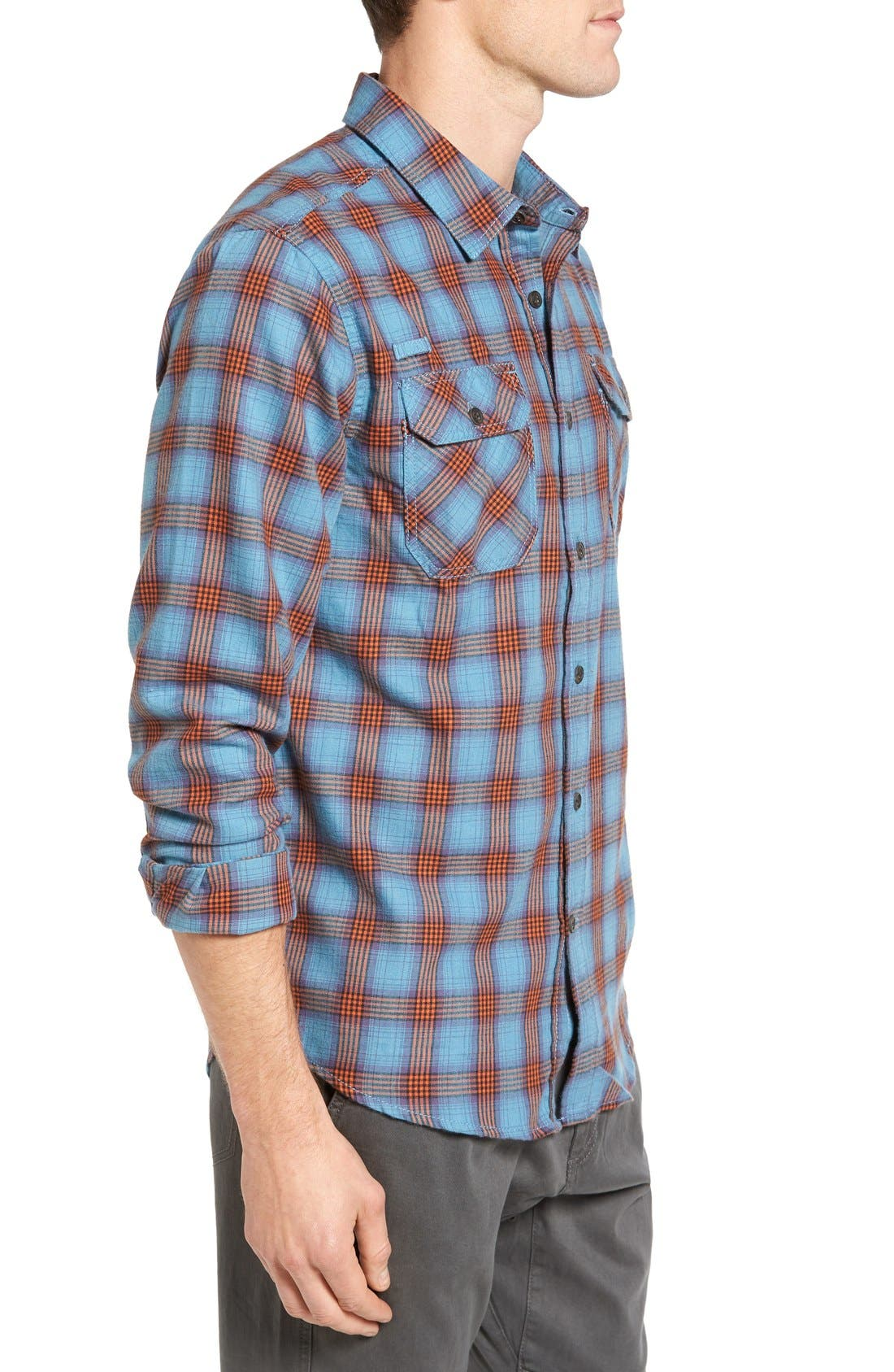Burner Regular Fit Plaid Flannel Shirt,                             Alternate thumbnail 3, color,                             Vision Blue