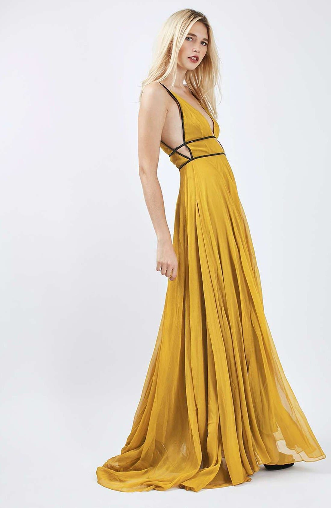 Alternate Image 2  - Topshop Beaded Maxi Dress
