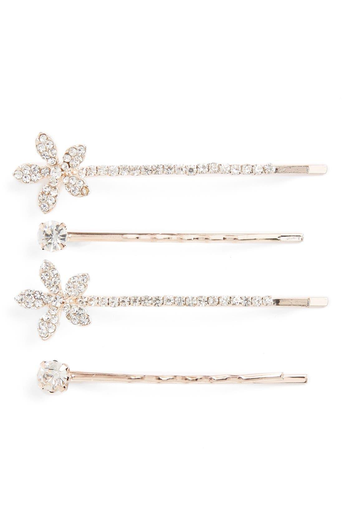 Main Image - Cara 4-Pack Crystal Flower Bobby Pins
