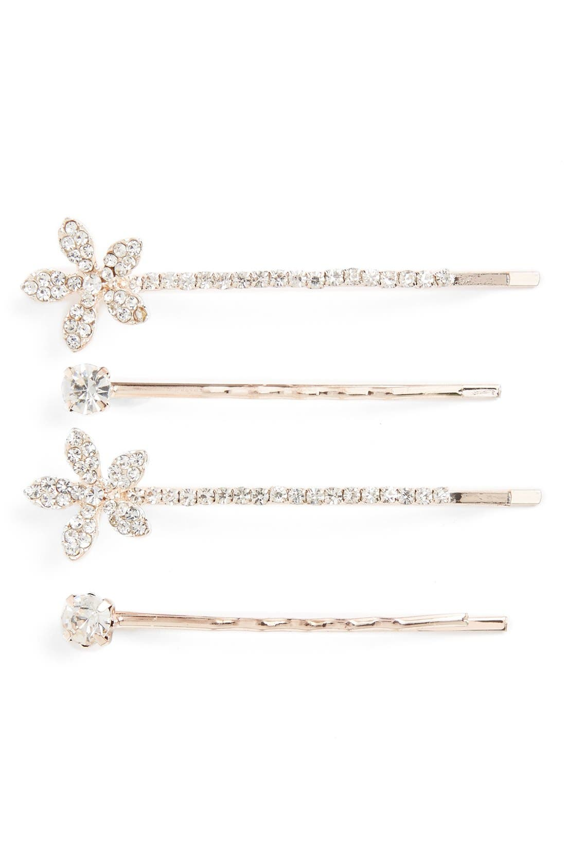 4-Pack Crystal Flower Bobby Pins,                         Main,                         color, Gold