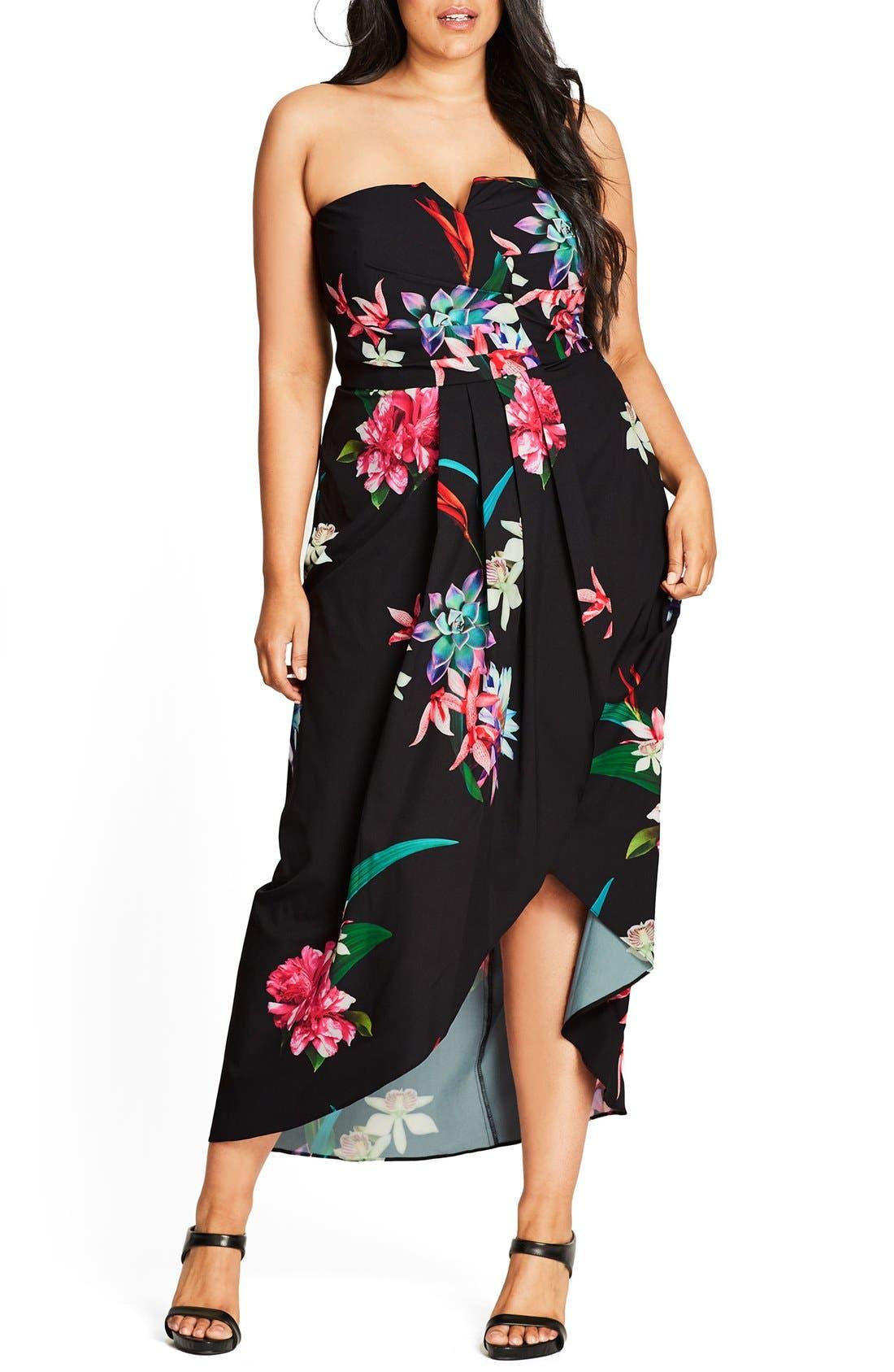 City Chic Succulent Faux Wrap Convertible Maxi Dress (Plus Size)