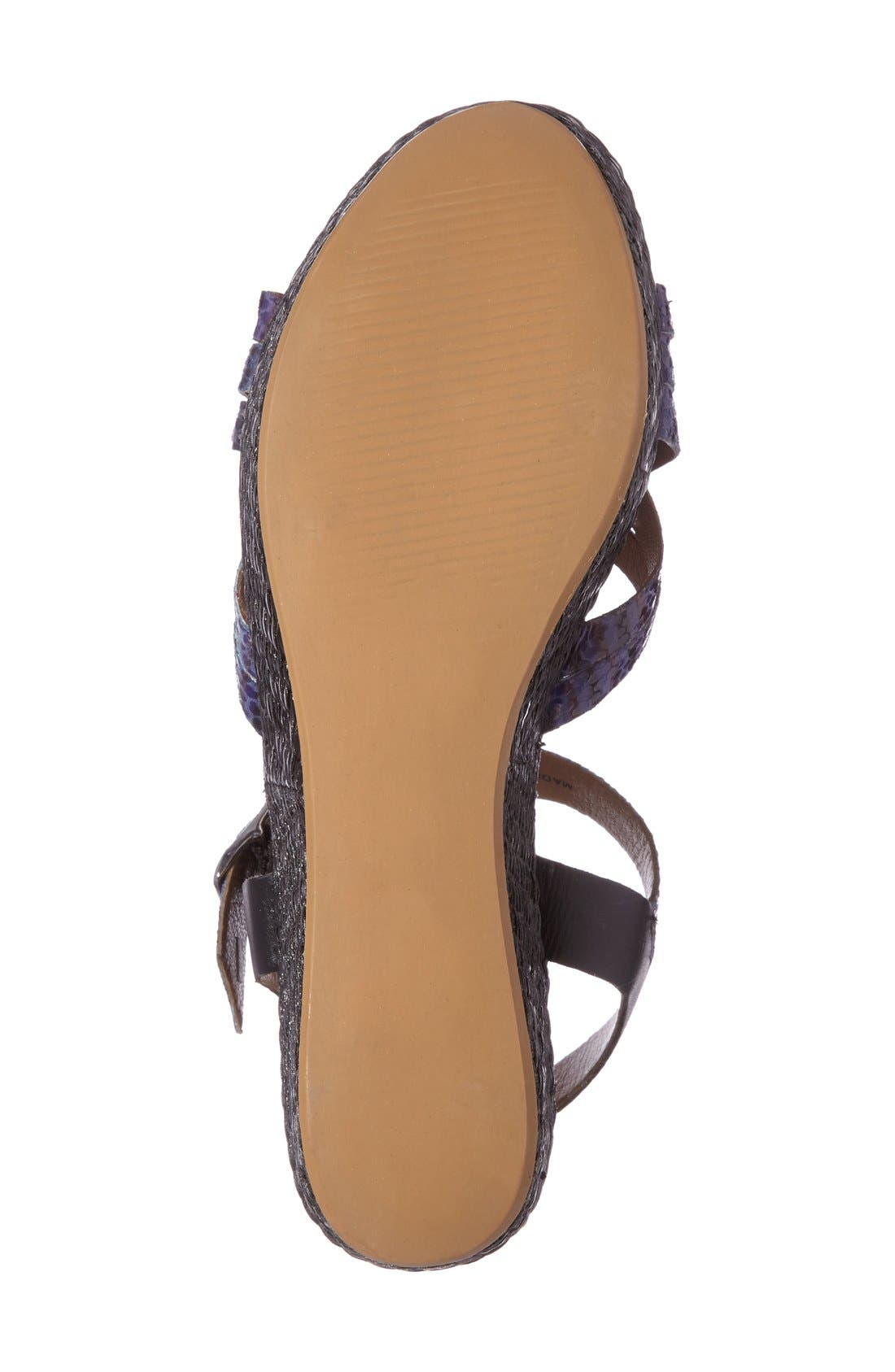 Valencia Platform Wedge Sandal,                             Alternate thumbnail 4, color,                             Blue Faux Leather