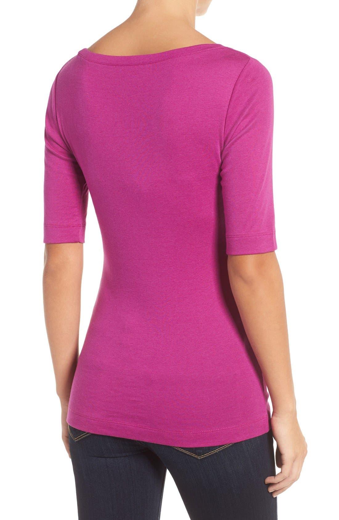 Ballet Neck Cotton & Modal Knit Elbow Sleeve Tee,                             Alternate thumbnail 3, color,                             Purple Vintner