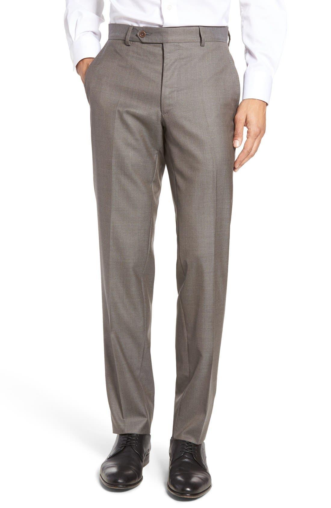 PETER MILLAR Multi Season Flat Front Merino Wool Trousers