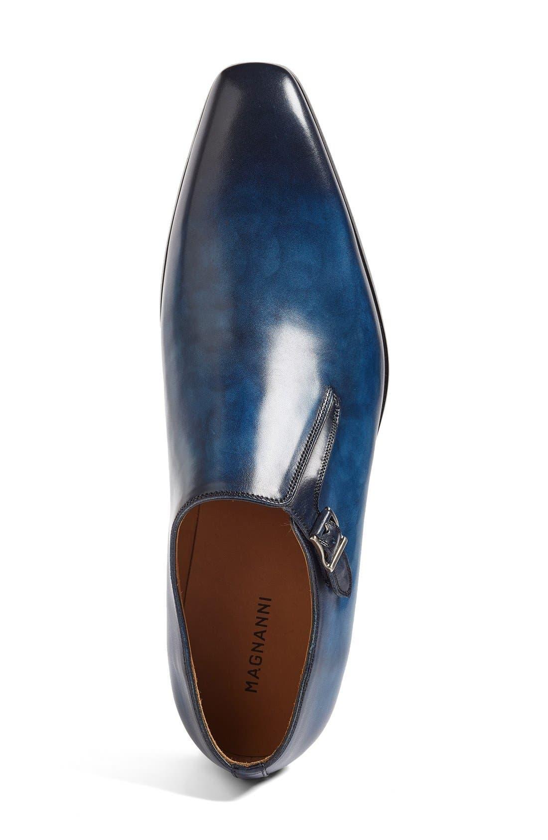 Beltran Monk Strap Shoe,                             Alternate thumbnail 3, color,                             Navy