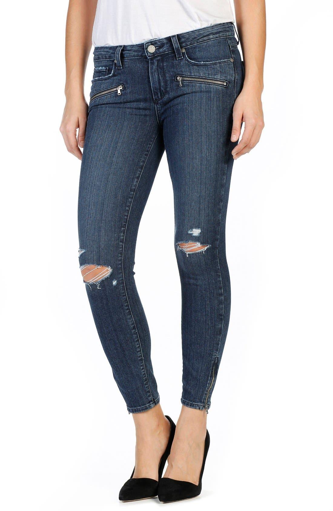 Transcend - Jane Zip Detail Ankle Jeans,                         Main,                         color, Lani Destructed No Whiskers
