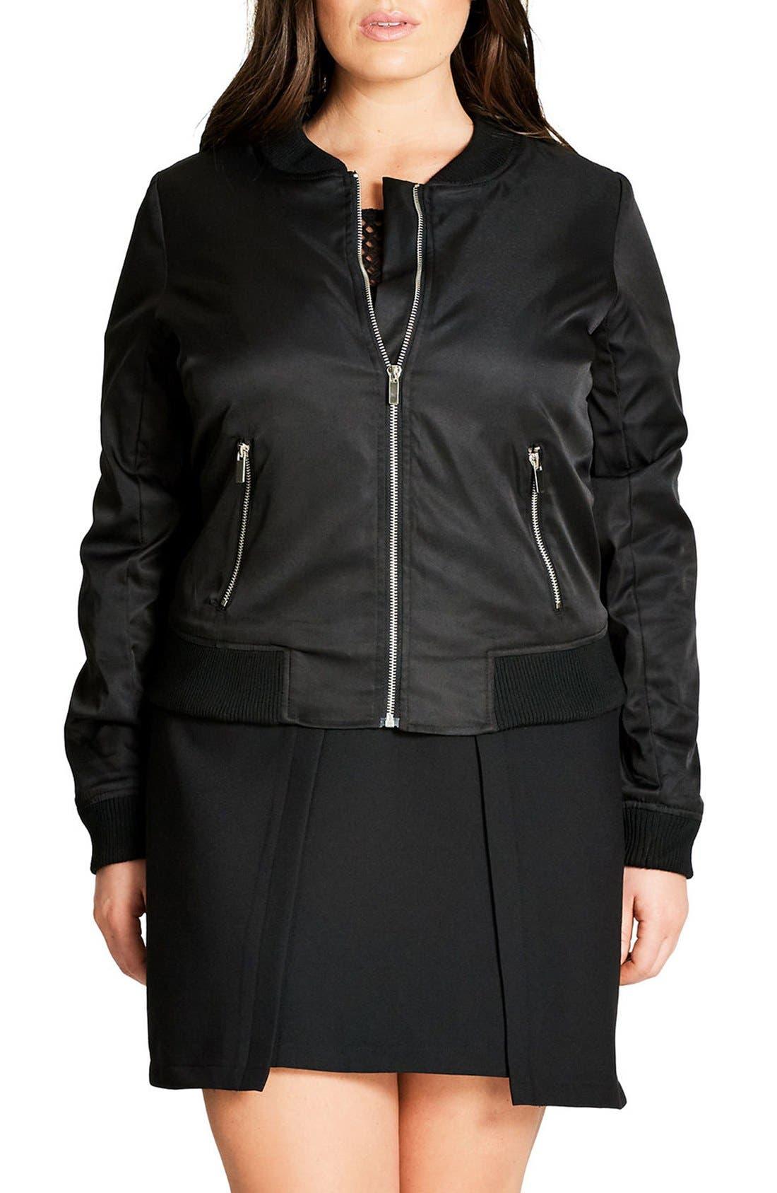 Zip Front Bomber Jacket,                         Main,                         color, Black