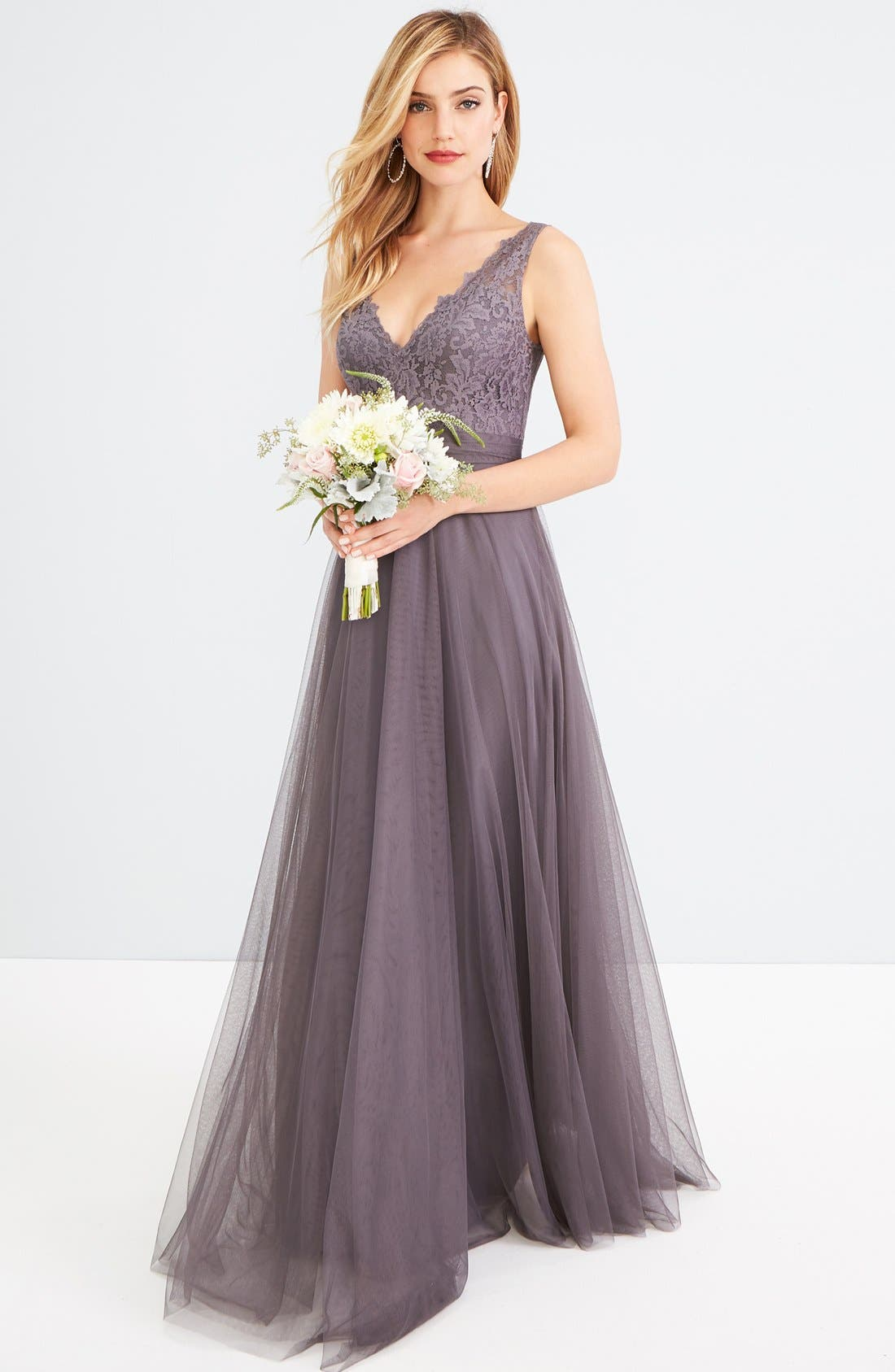 Desiree Tulle Dress,                             Main thumbnail 1, color,                             Pewter