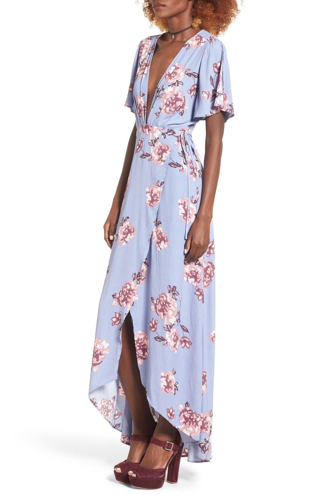 Alternate Image 4  - ASTR Selma Floral Print Wrap Dress