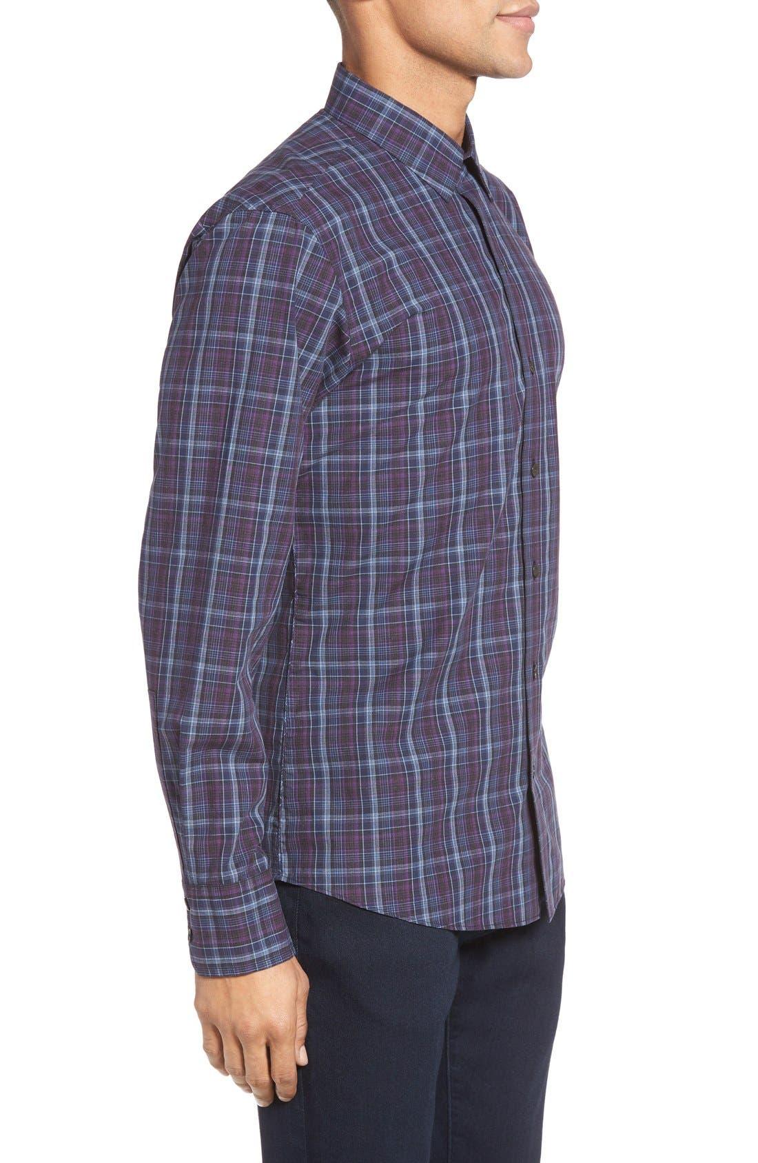 Bulatao Trim Fit Plaid Sport Shirt,                             Alternate thumbnail 3, color,                             Purple