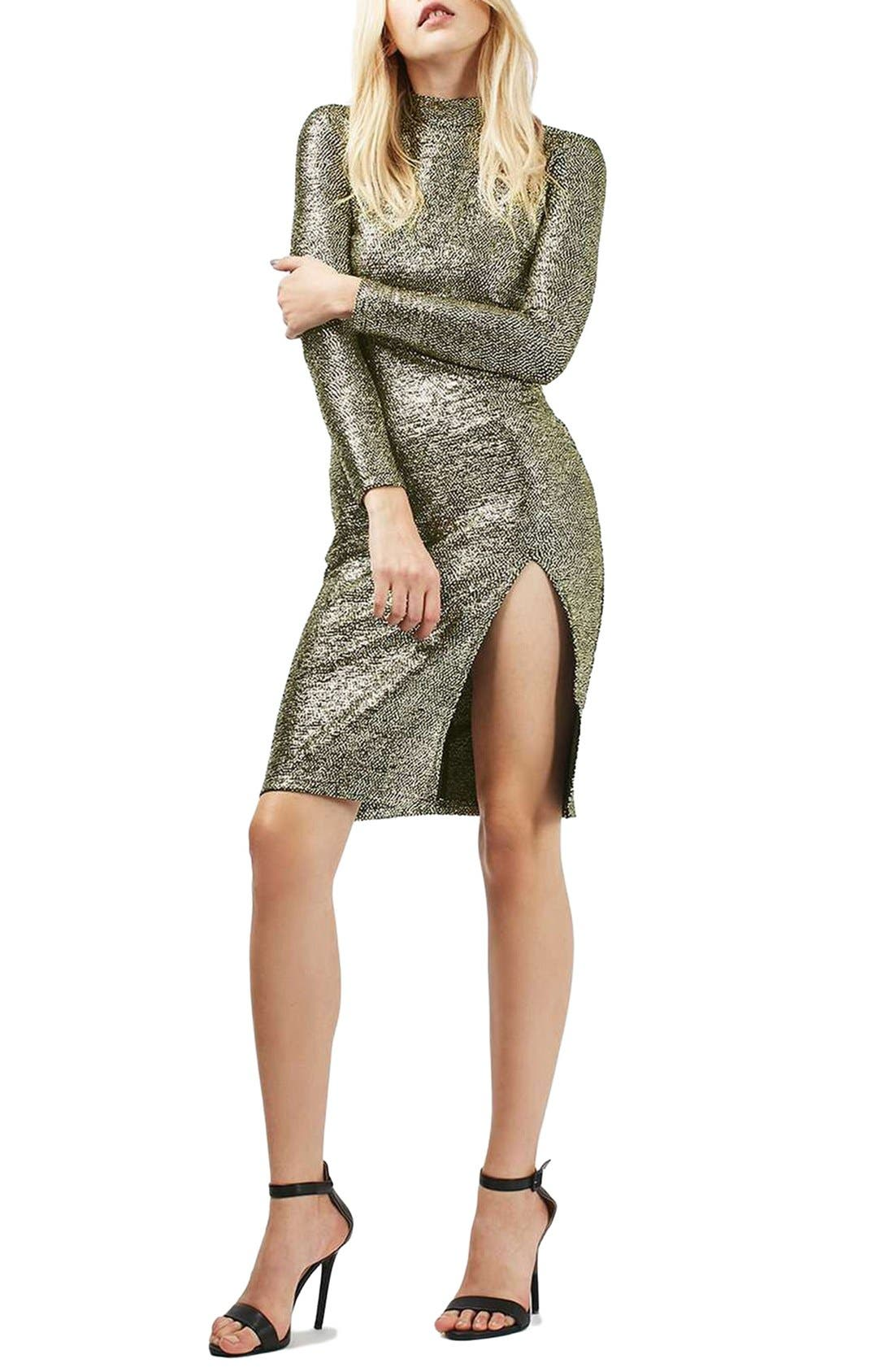 Main Image - Topshop Foil Spot Midi Dress (Regular & Petite)