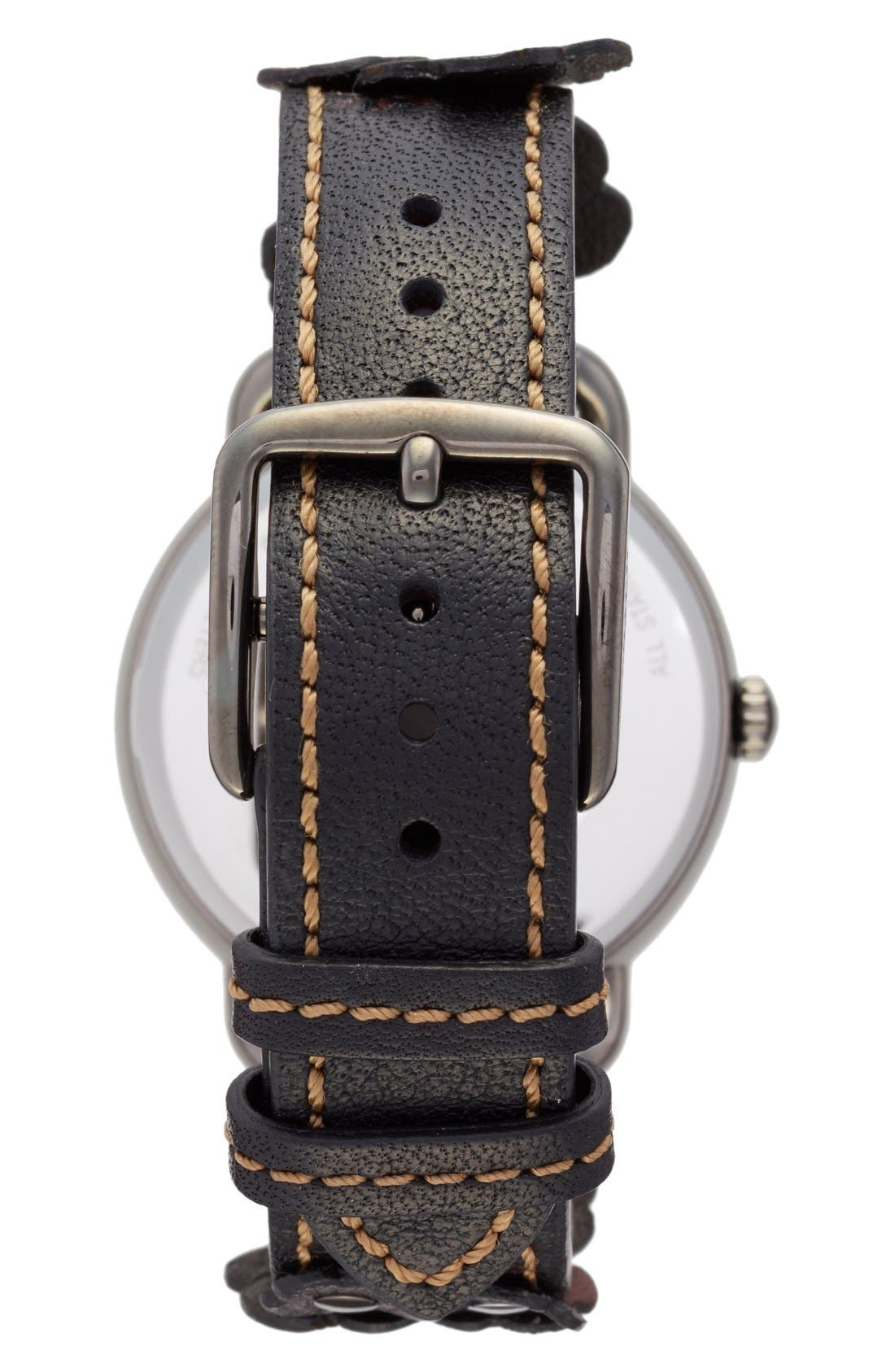 Delancey Leather Strap Watch, 36mm,                             Alternate thumbnail 2, color,                             Grey/ Black