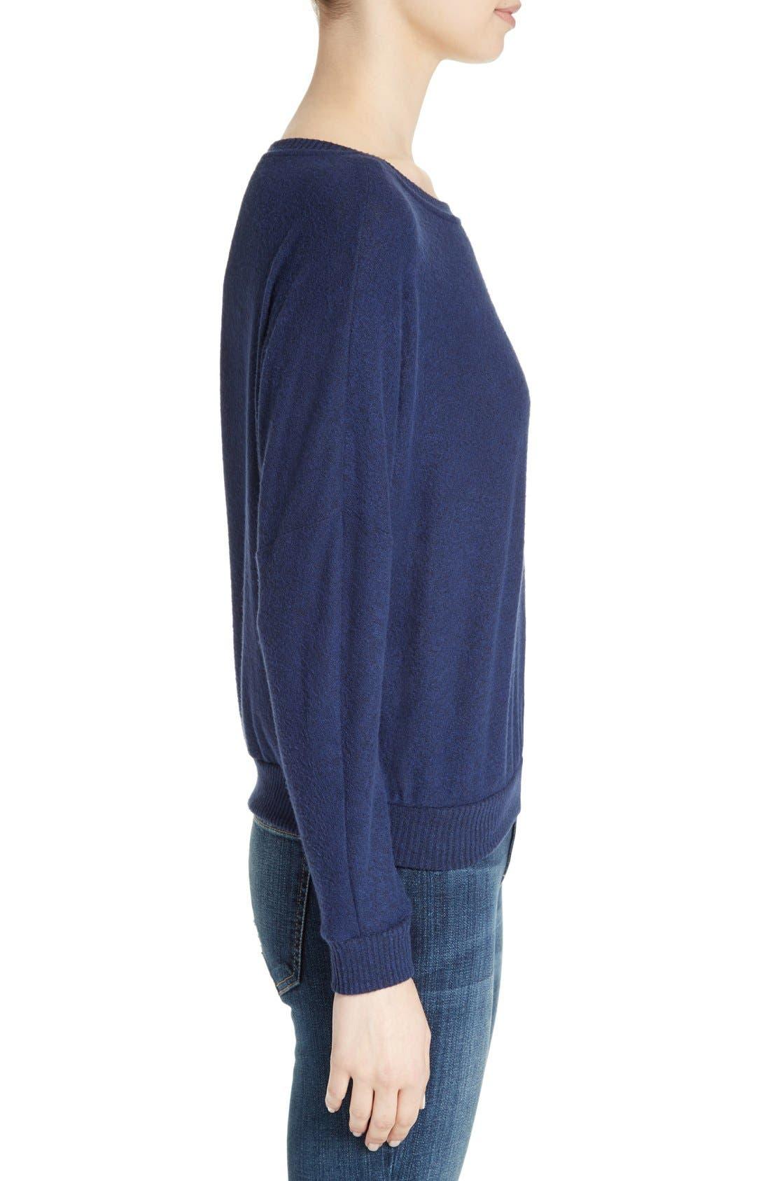 Soft Joie Giardia Drop Shoulder Sweater,                             Alternate thumbnail 3, color,                             Peacoat