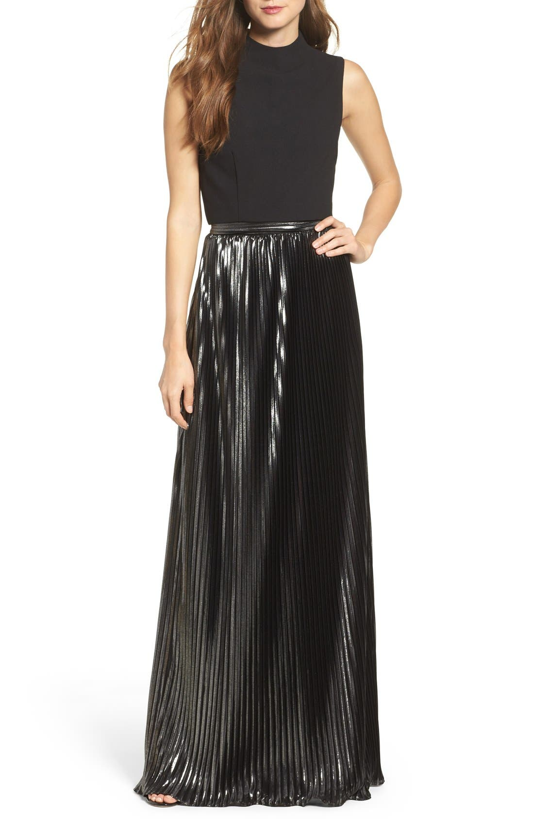 Two-Piece Gown,                         Main,                         color, Black/ Silver