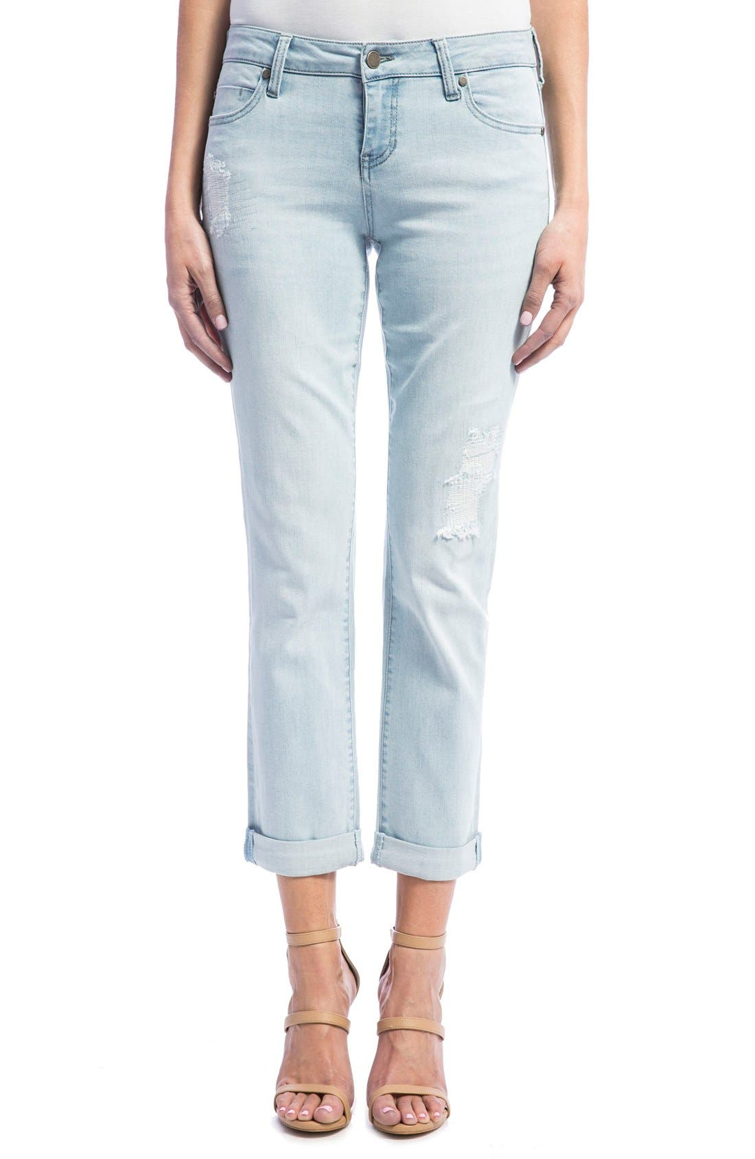 Peyton Slim Stretch Crop Boyfriend Jeans,                             Main thumbnail 1, color,                             Super Bleach Out