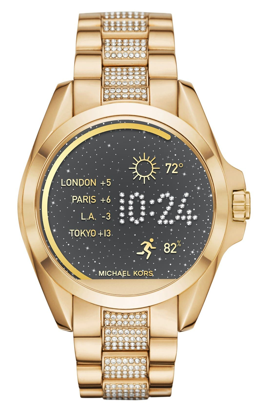MICHAEL Michael Kors Bradshaw Access Bracelet Smart Watch, 45mm,                             Main thumbnail 1, color,                             Gold/ Silver