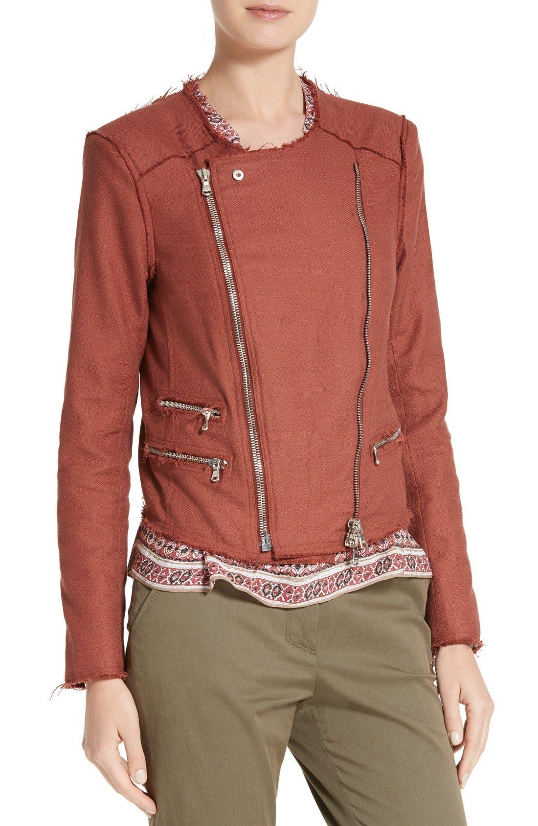 Alternate Image 5  - Veronica Beard Stevie Fringe Trim Moto Jacket
