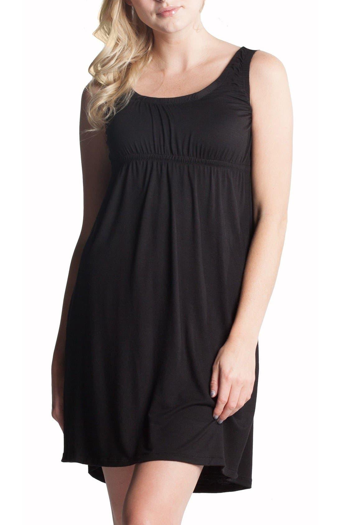Oxford Maternity/Nursing Nightgown,                         Main,                         color, Black