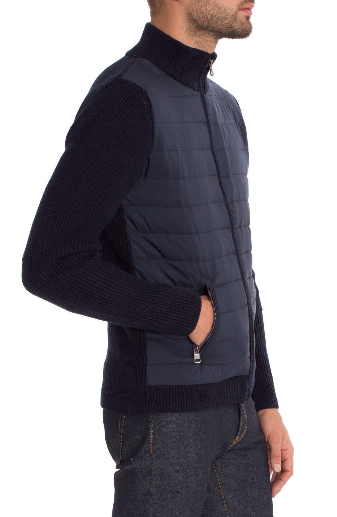 Tristan Mixed Media Jacket,                             Alternate thumbnail 3, color,                             Navy