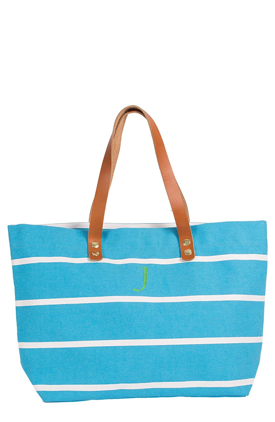 Monogram Stripe Tote,                         Main,                         color, Blue-J