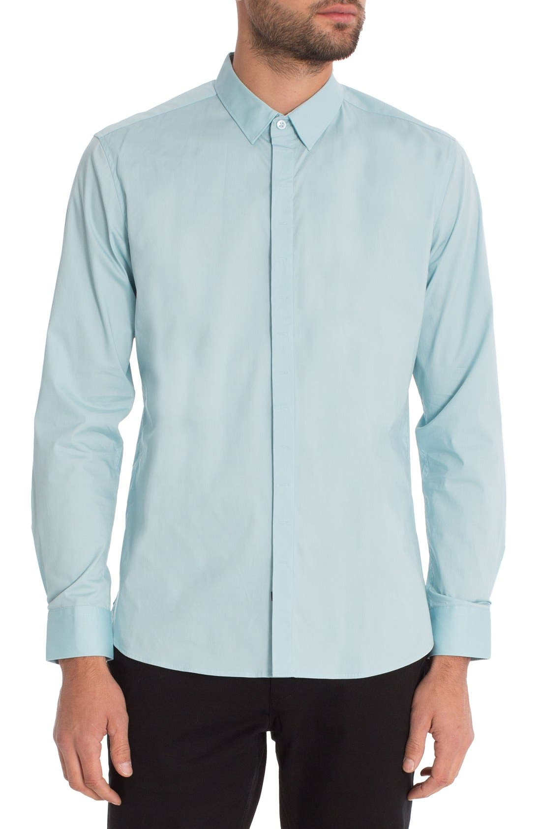 'Peace Train' Trim Fit Woven Shirt,                             Main thumbnail 1, color,                             Sterling Blue