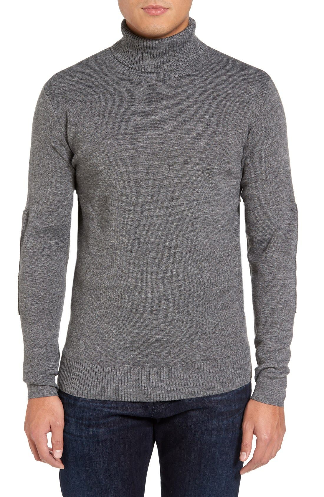 Merino Wool Blend Turtleneck Sweater,                         Main,                         color, Grey