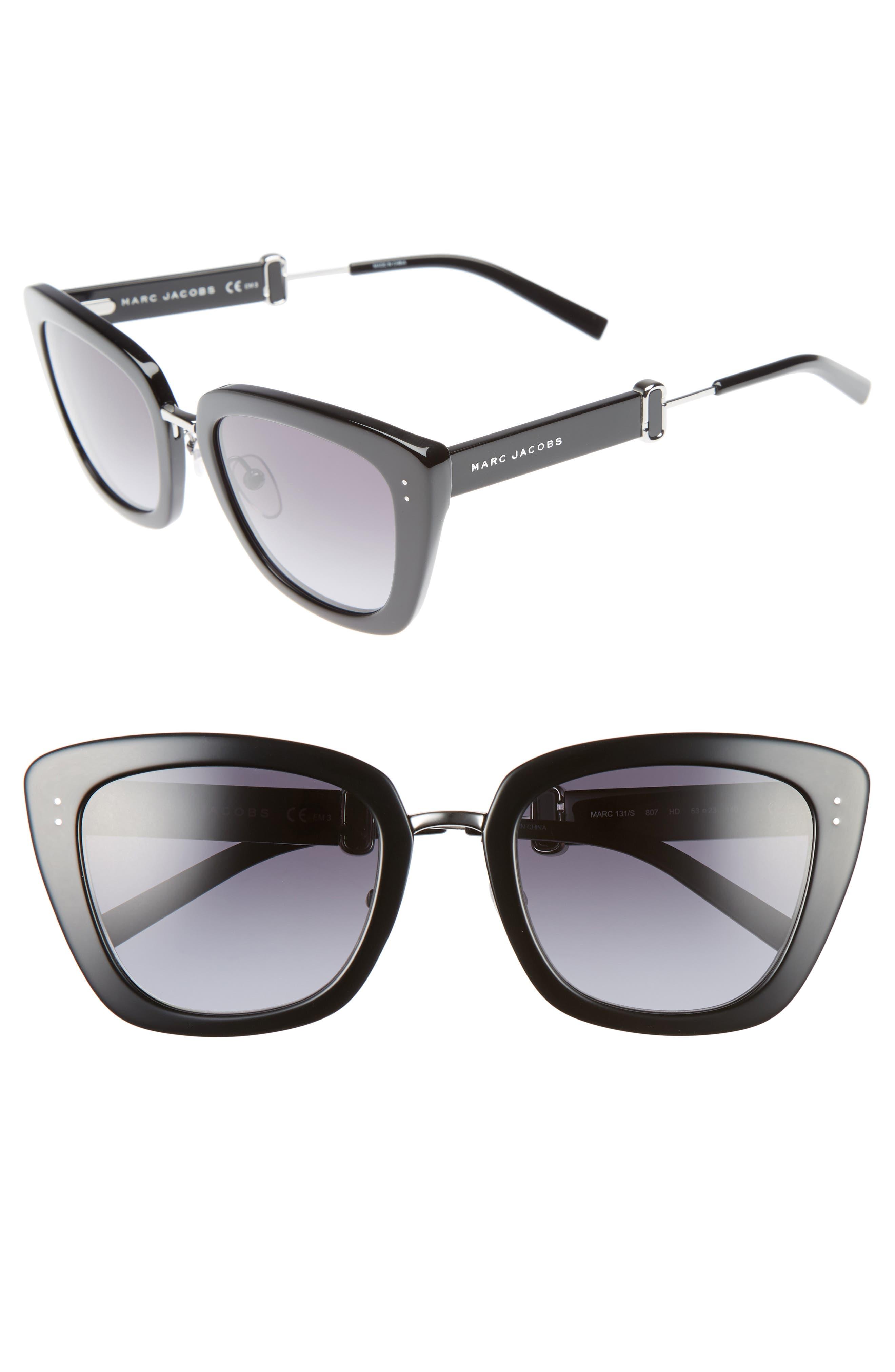 53mm Oversized Sunglasses,                             Main thumbnail 1, color,                             Black
