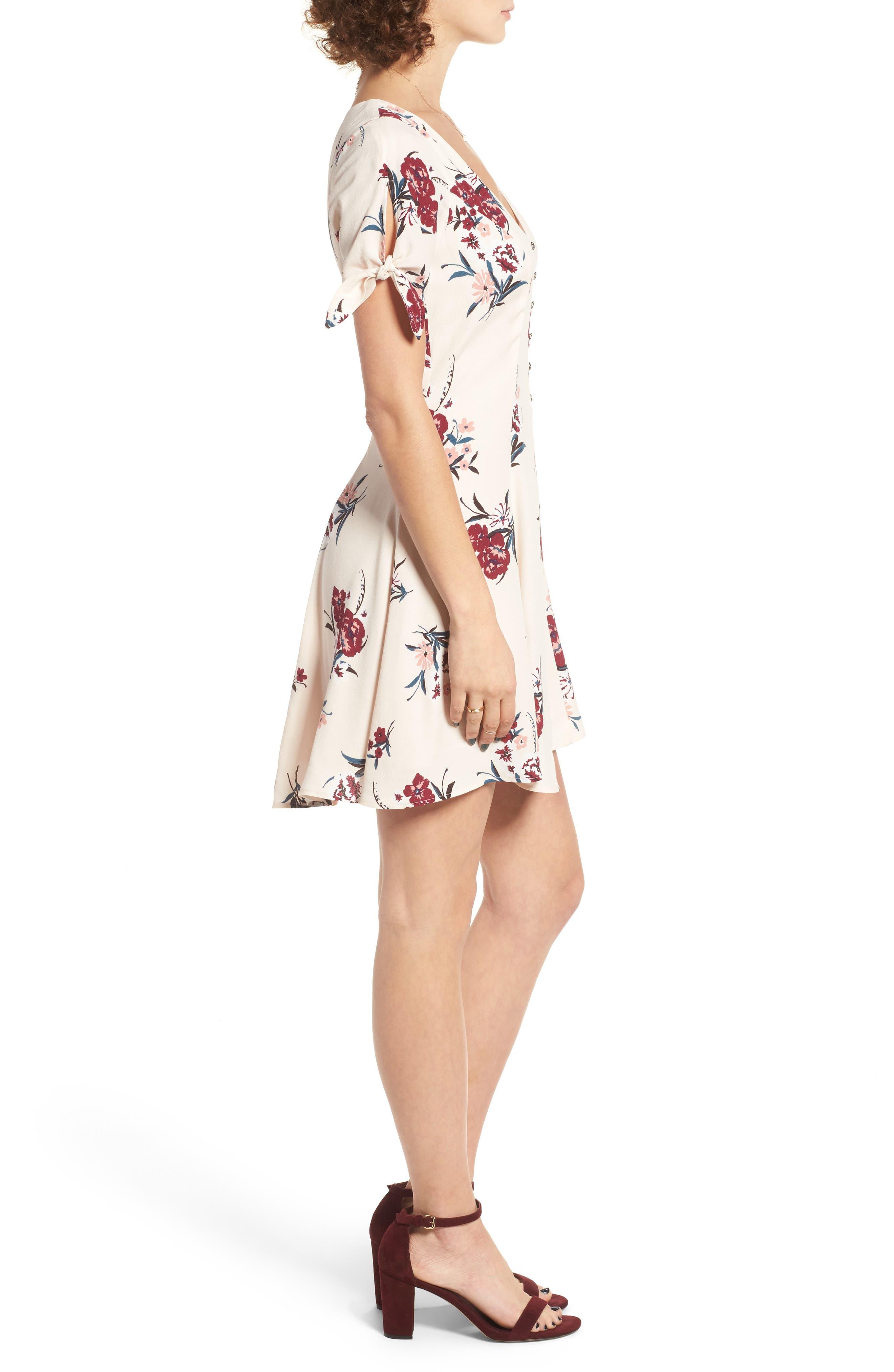 Tie Sleeve Dress,                             Alternate thumbnail 4, color,                             Blush Multi Floral