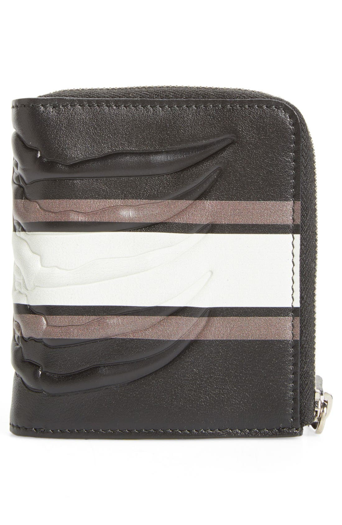 Leather Half Zip Wallet,                             Alternate thumbnail 3, color,                             Black/ Grey/ Off White