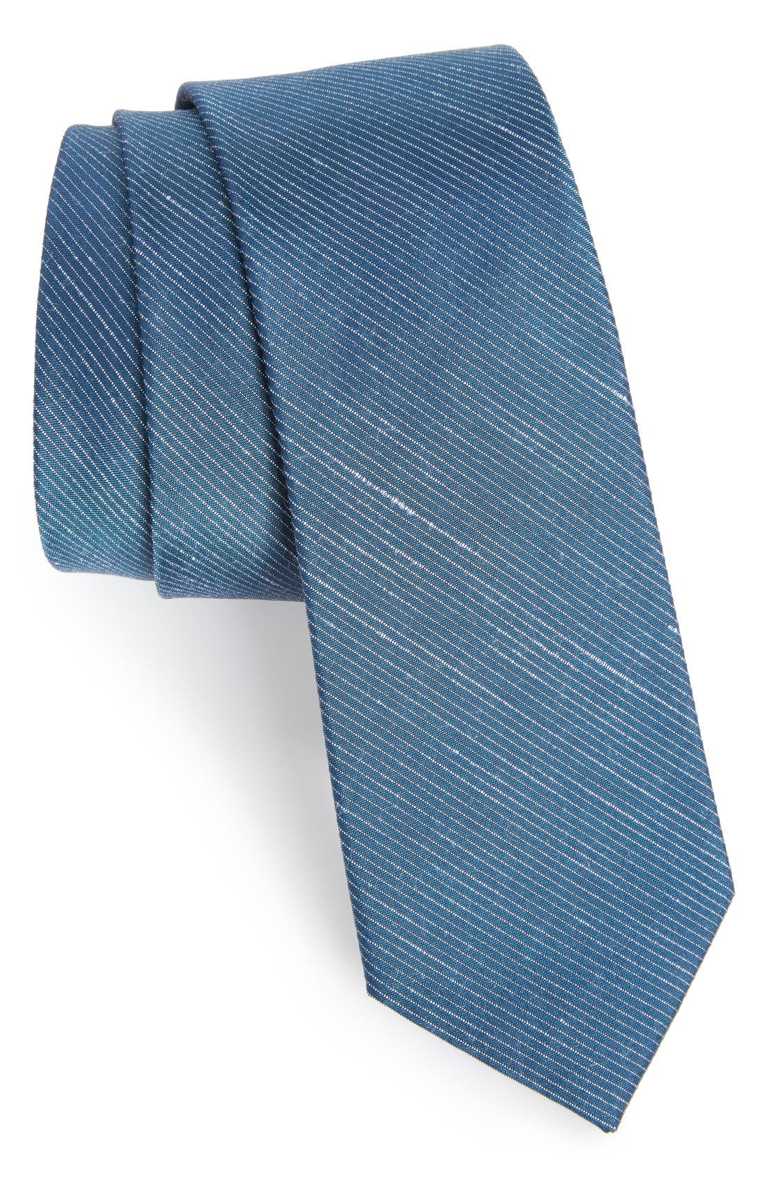 Pinstripe Silk & Linen Tie,                         Main,                         color, Serene Blue