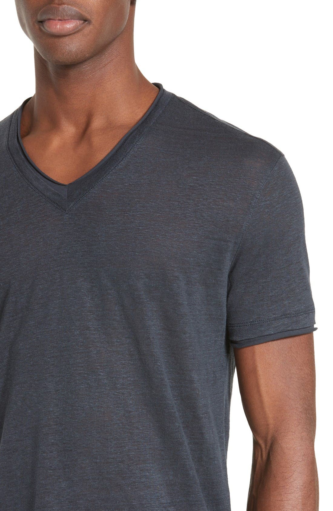 Alternate Image 4  - John Varvatos Collection V-Neck Linen T-Shirt