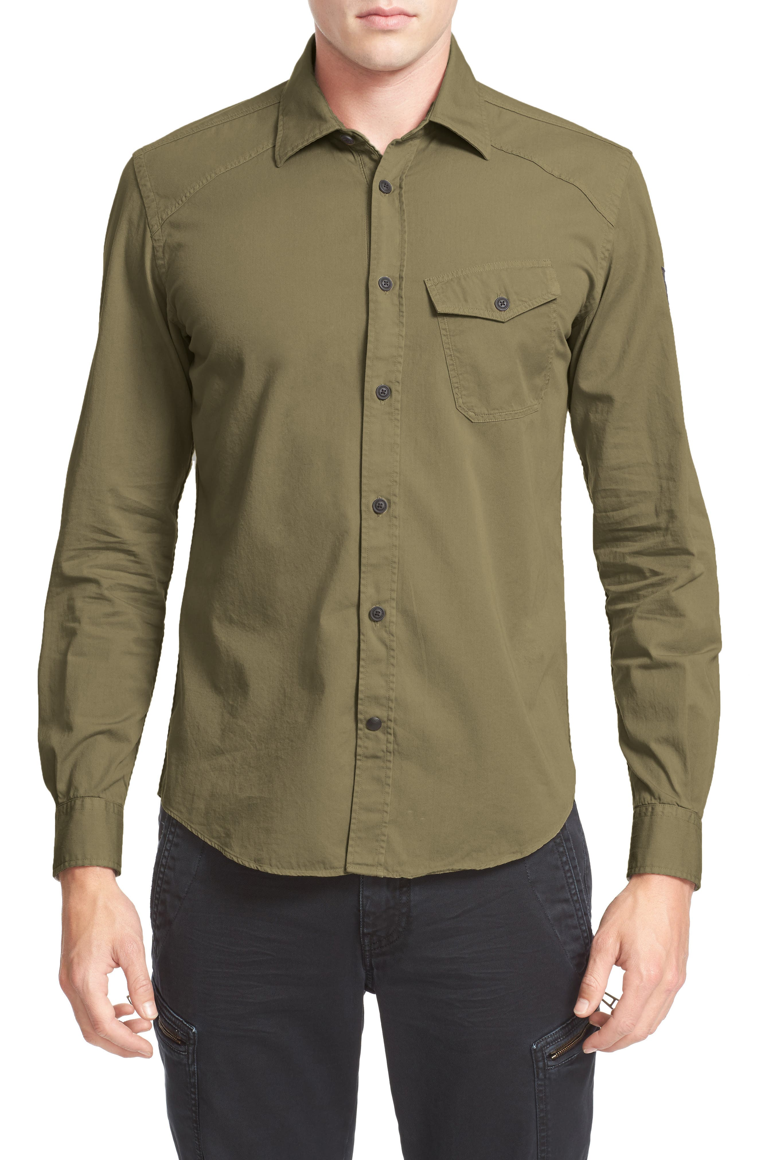 Steadway Woven Shirt,                             Main thumbnail 1, color,                             Military Green