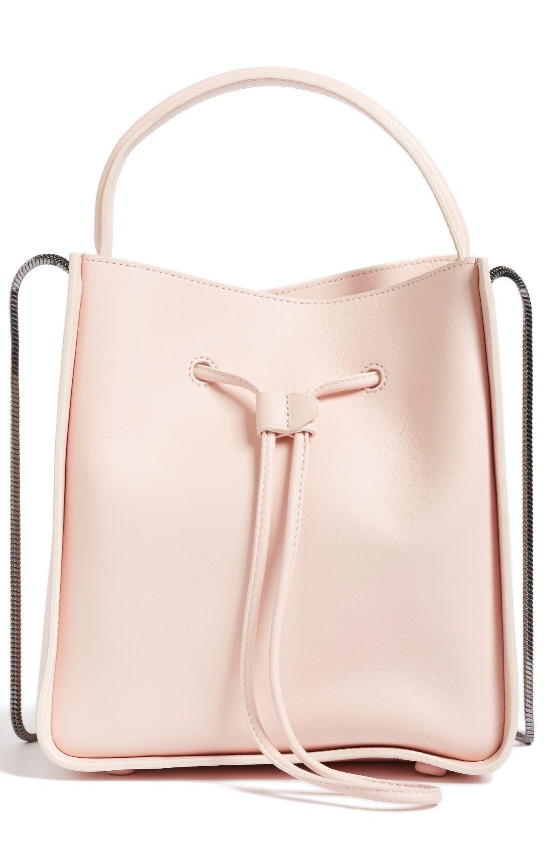 Mini Soleil Leather Bucket Bag,                             Main thumbnail 1, color,                             Light Pink
