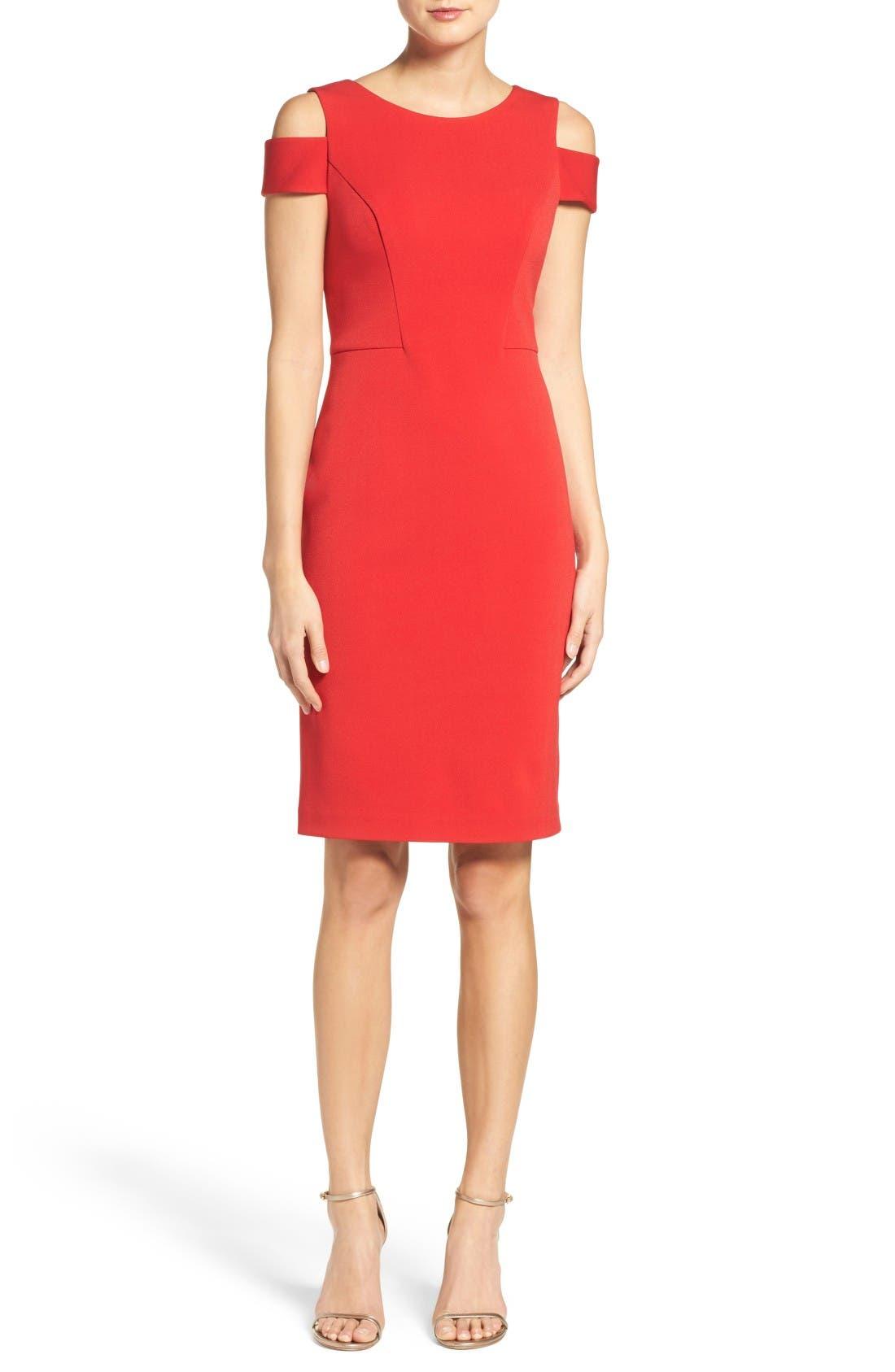 Cold Shoulder Crepe Sheath Dress,                         Main,                         color, Red
