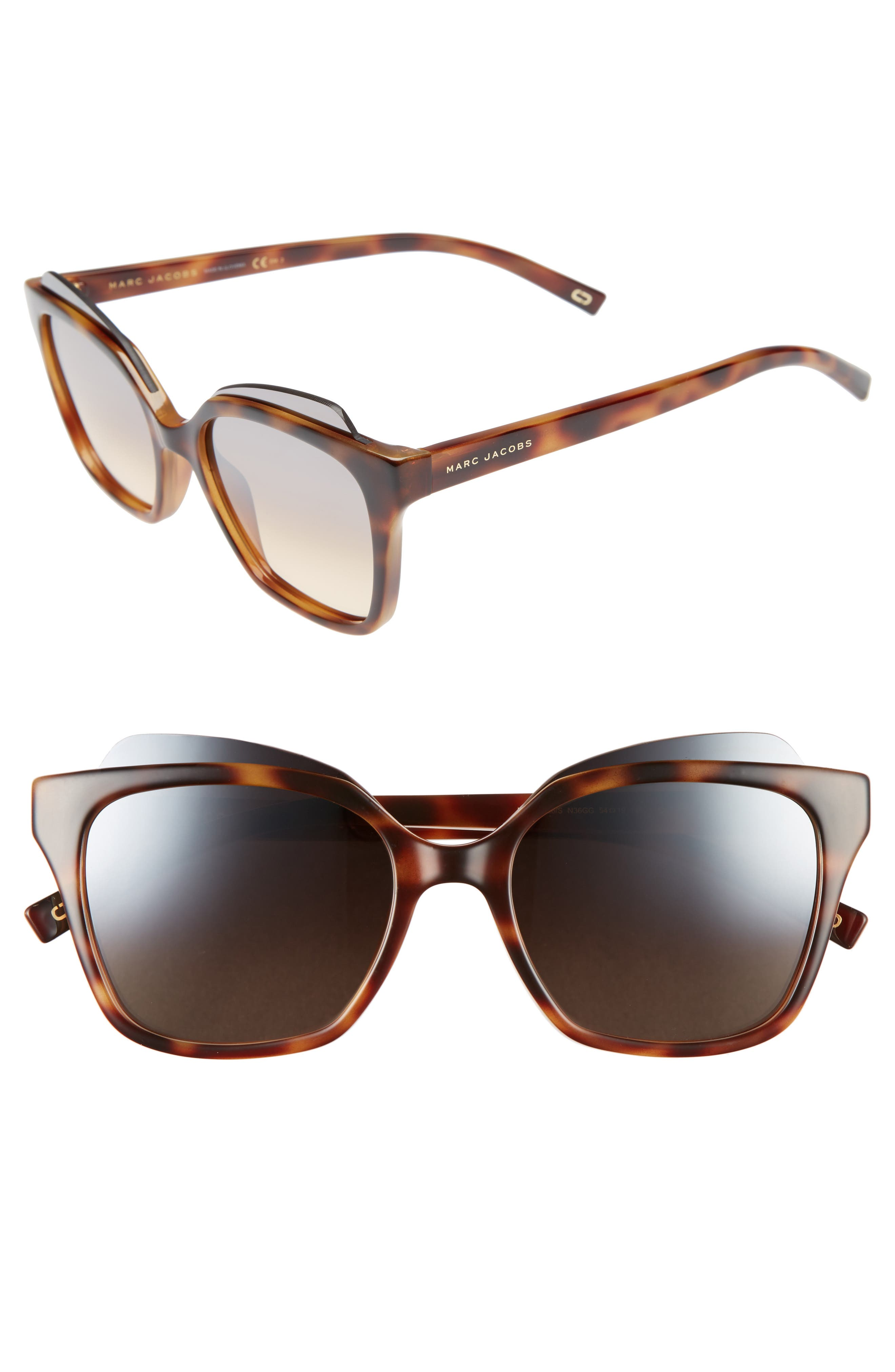 54mm Sunglasses,                         Main,                         color, Havana