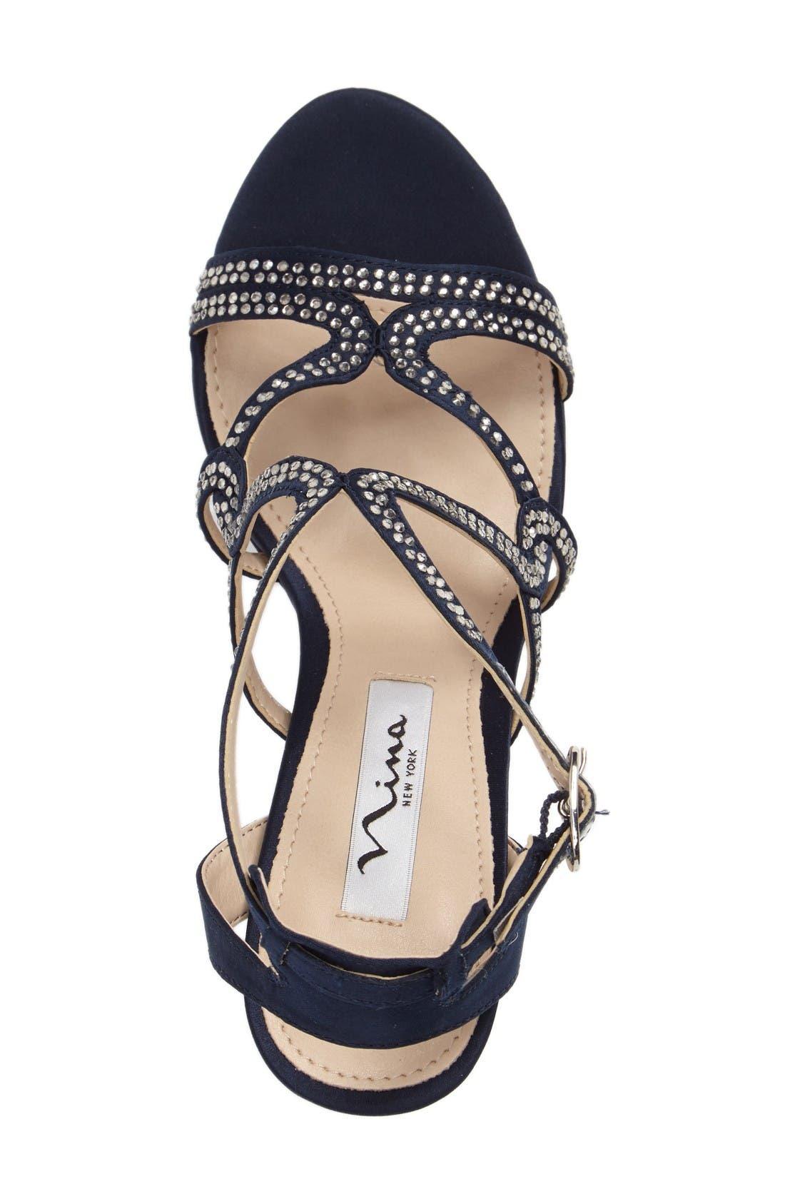Varsha Crystal Embellished Evening Sandal,                             Alternate thumbnail 3, color,                             New Navy Satin