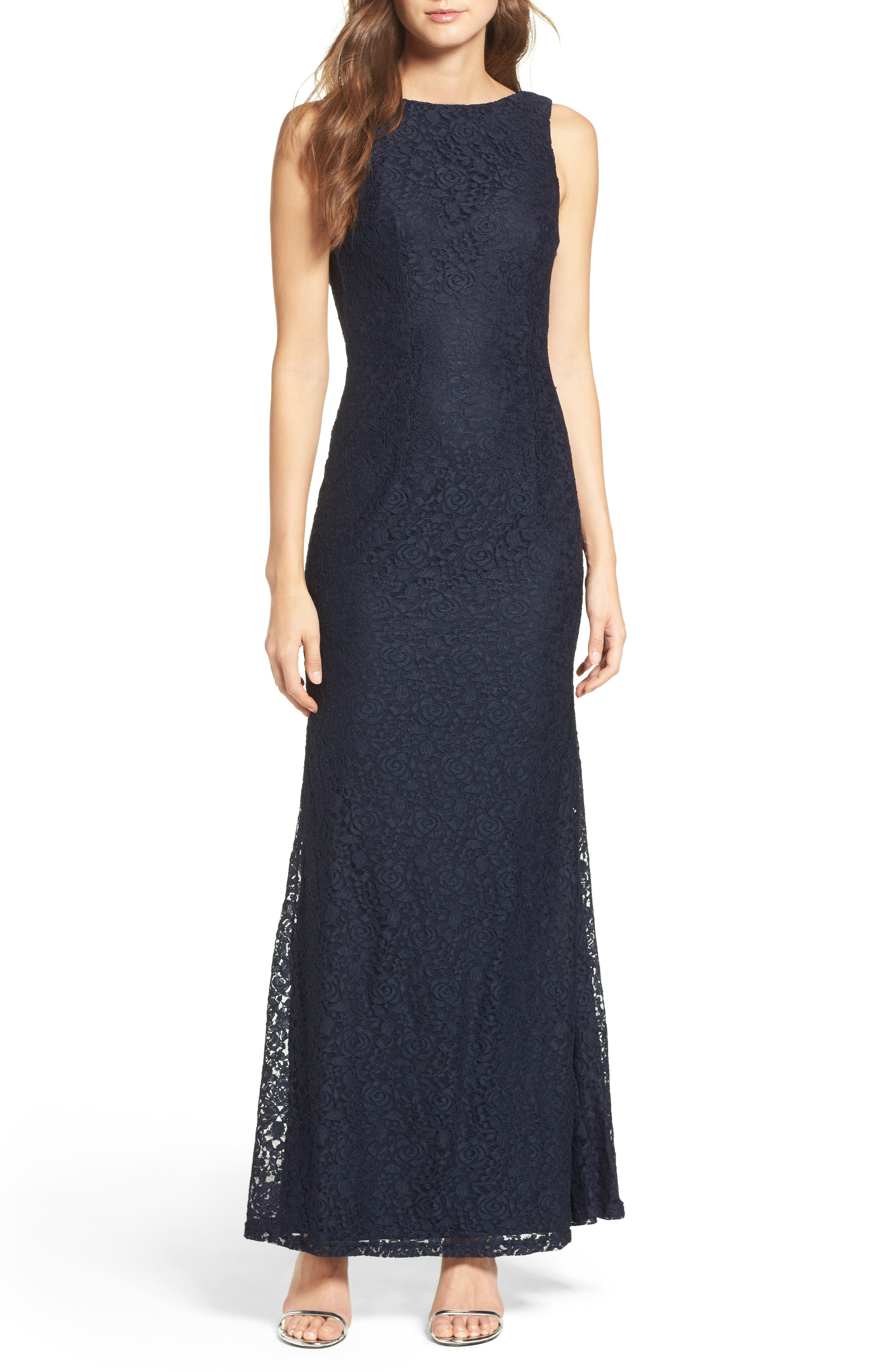 Alternate Image 1 Selected - Lulus Cowl Back Lace Mermaid Gown