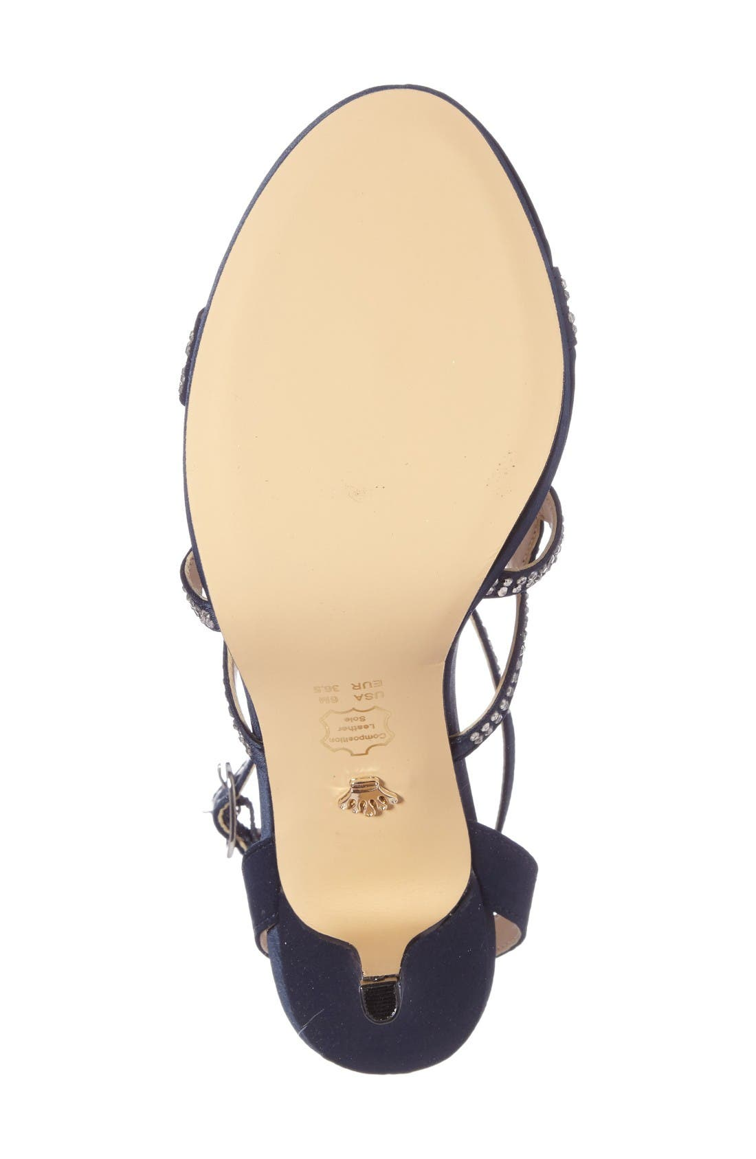 Varsha Crystal Embellished Evening Sandal,                             Alternate thumbnail 4, color,                             New Navy Satin