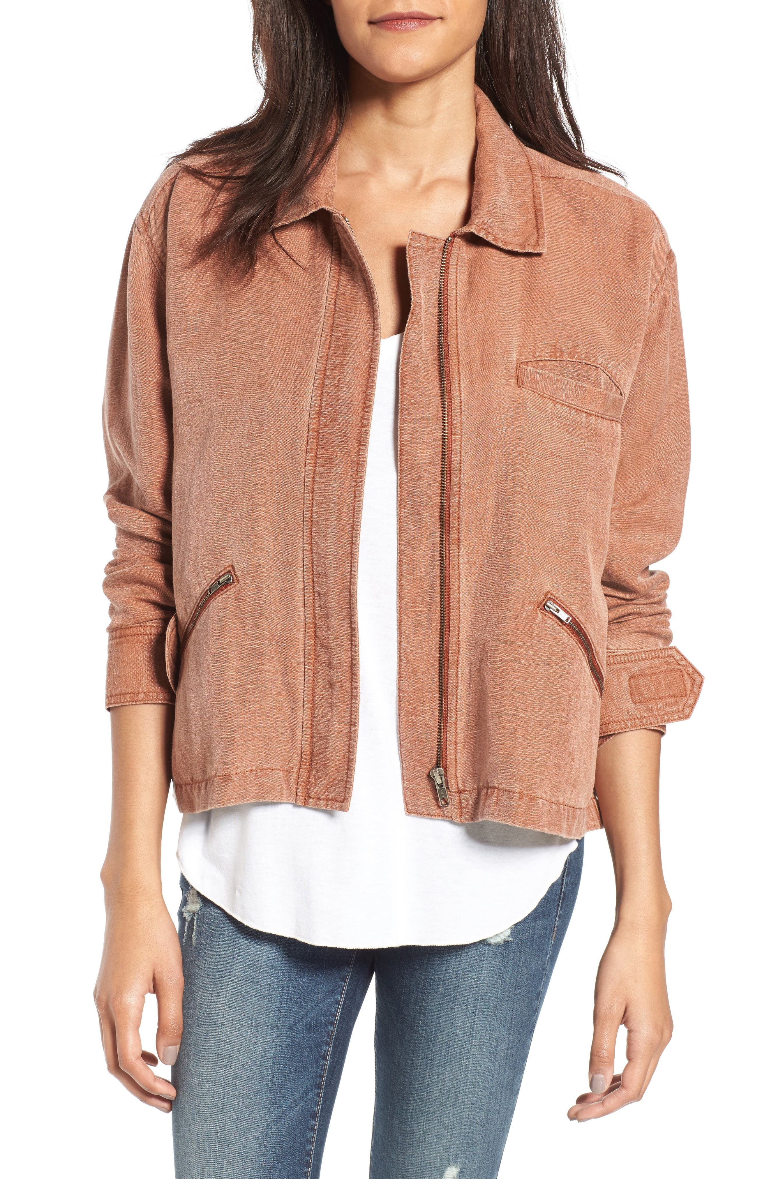 Alternate Image 1 Selected - BP. Washed Linen Blend Jacket