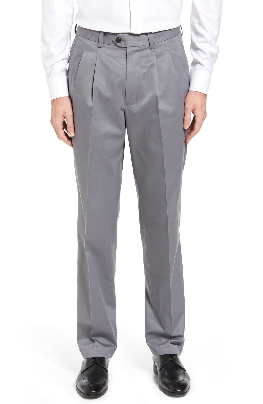 Classic Smartcare<sup>™</sup> Supima<sup>®</sup> Cotton Pleated Trousers,                             Main thumbnail 1, color,                             Grey Shade