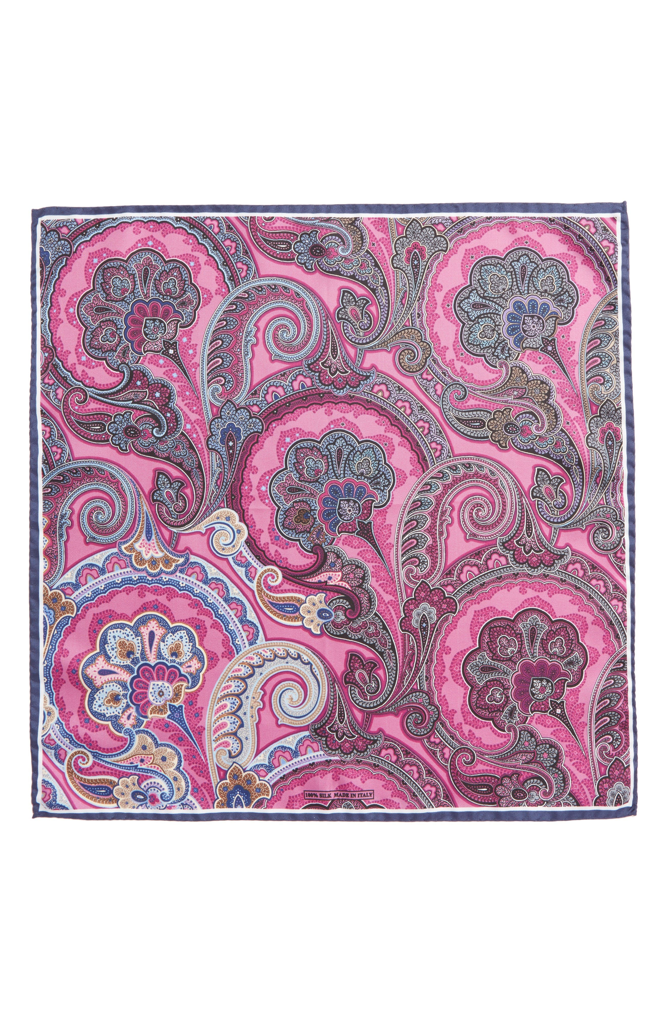 Paisley Silk Pocket Square,                             Alternate thumbnail 3, color,                             Pink