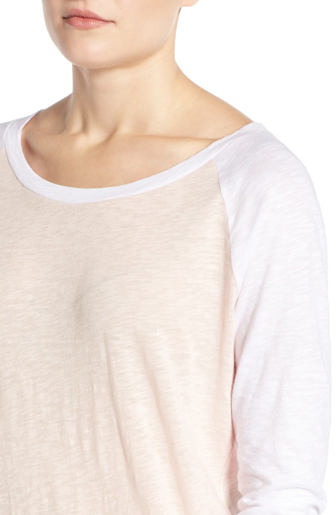 Lightweight Colorblock Cotton Tee,                             Alternate thumbnail 8, color,                             Pink Peach- White Colorblock