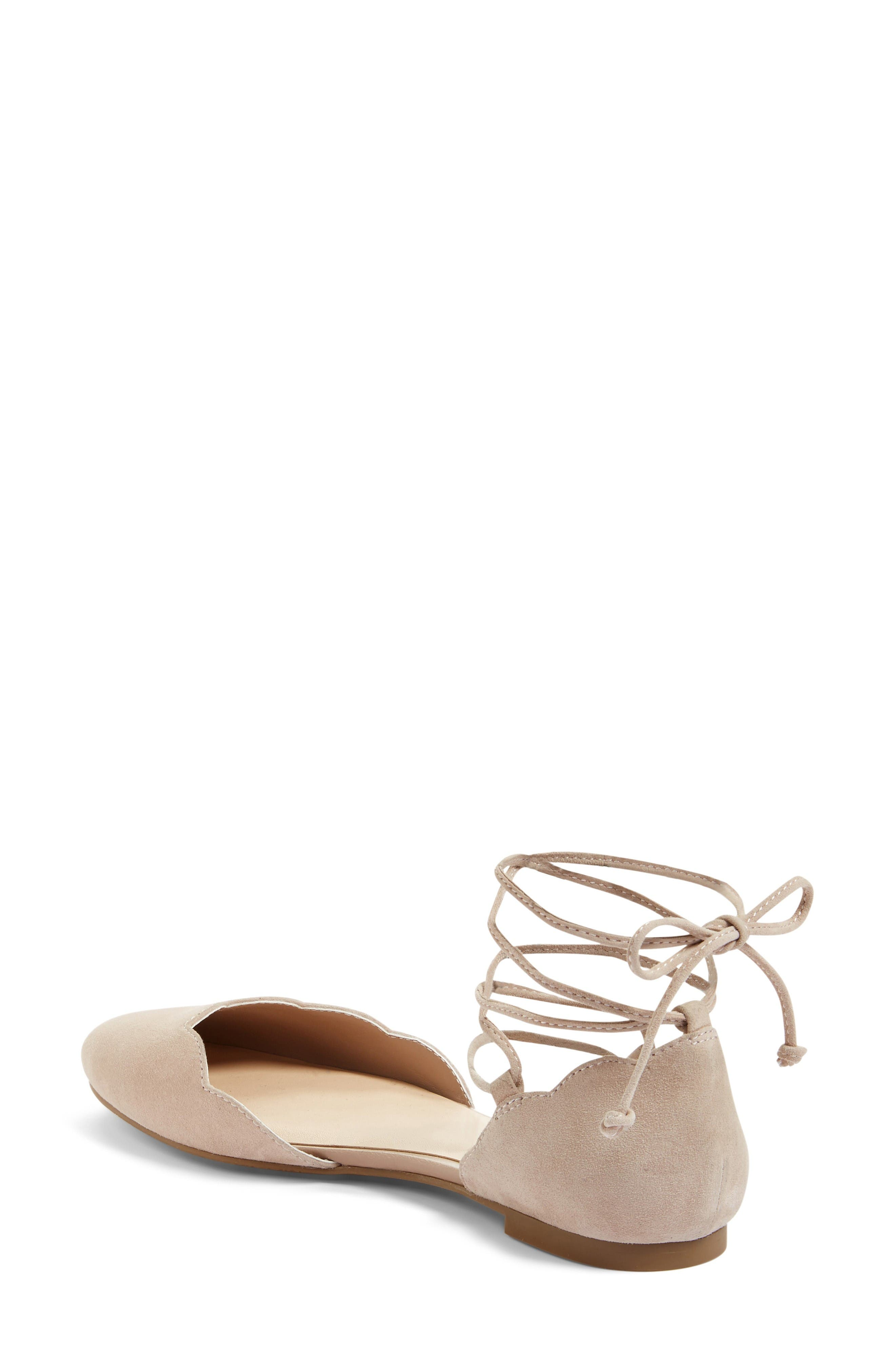 Sophie Lace-Up Flat,                             Alternate thumbnail 3, color,                             Blush Suede