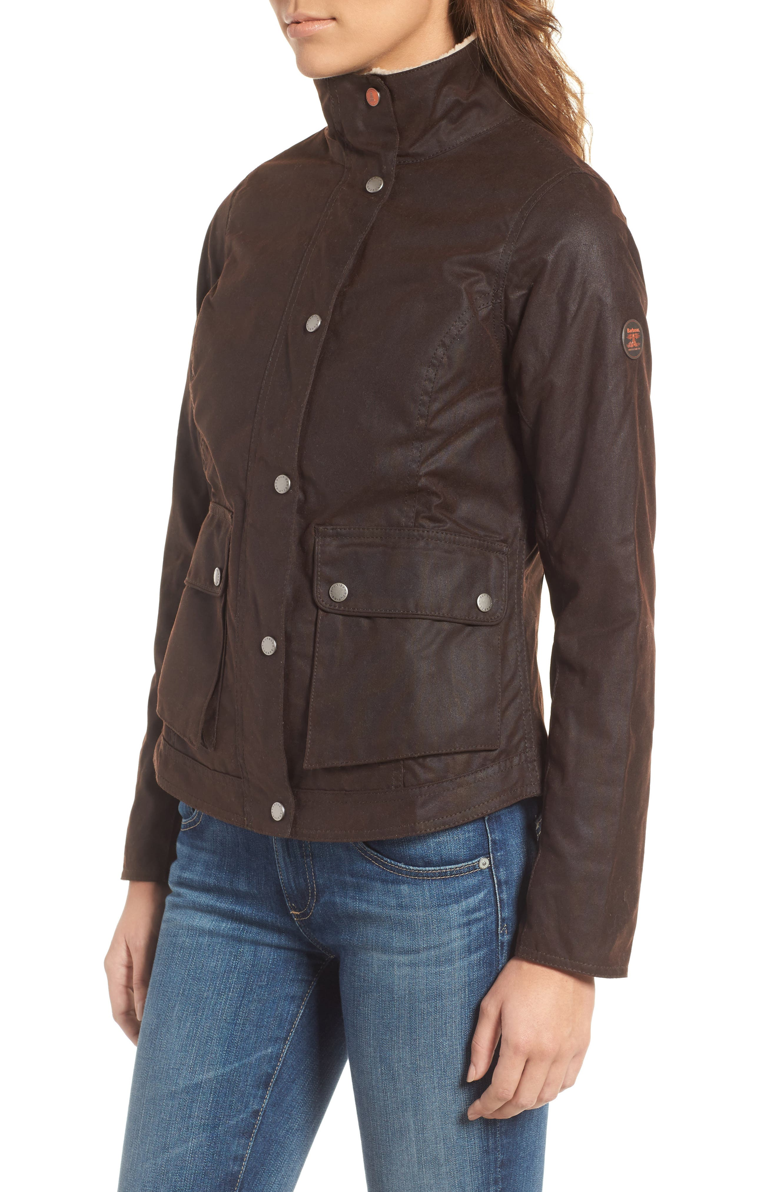 Alternate Image 3  - Barbour Cushat Faux Shearling Trim Waxed Jacket