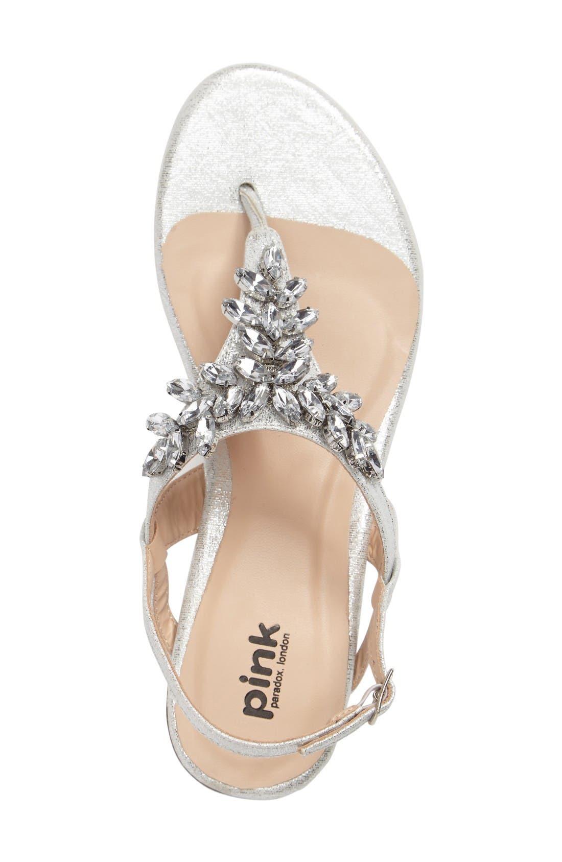 Flame Crystal Embellished Sandal,                             Alternate thumbnail 3, color,                             Silver