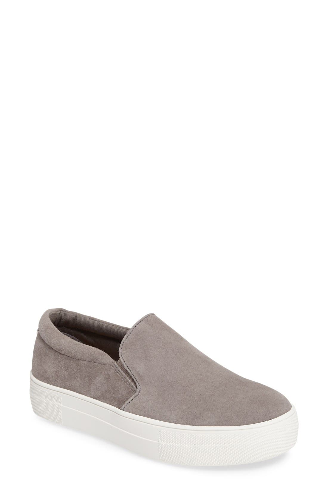 Gills Platform Slip-On Sneaker,                             Main thumbnail 1, color,                             Grey Suede