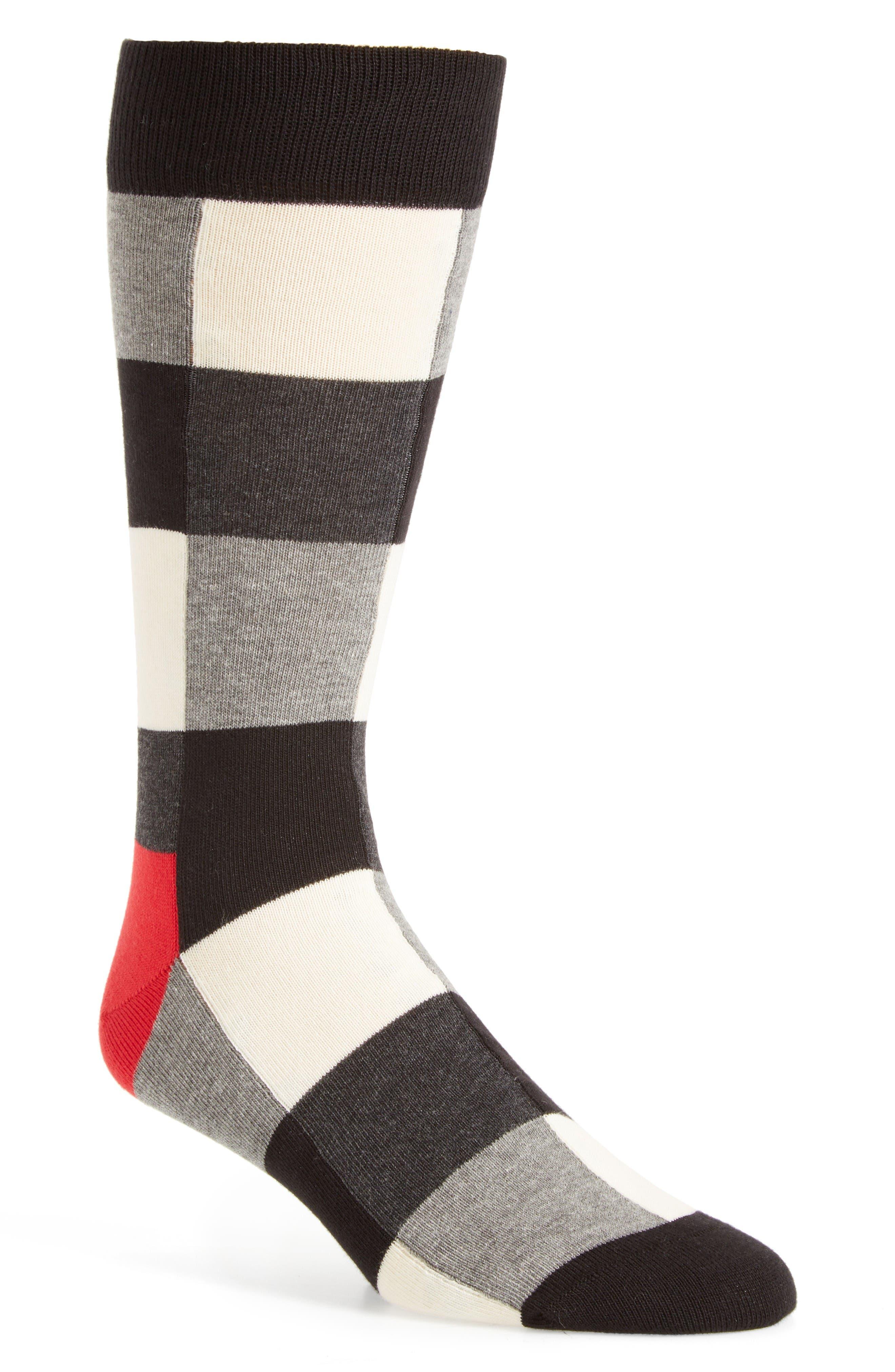 Check Socks,                         Main,                         color, Black/ White/ Grey