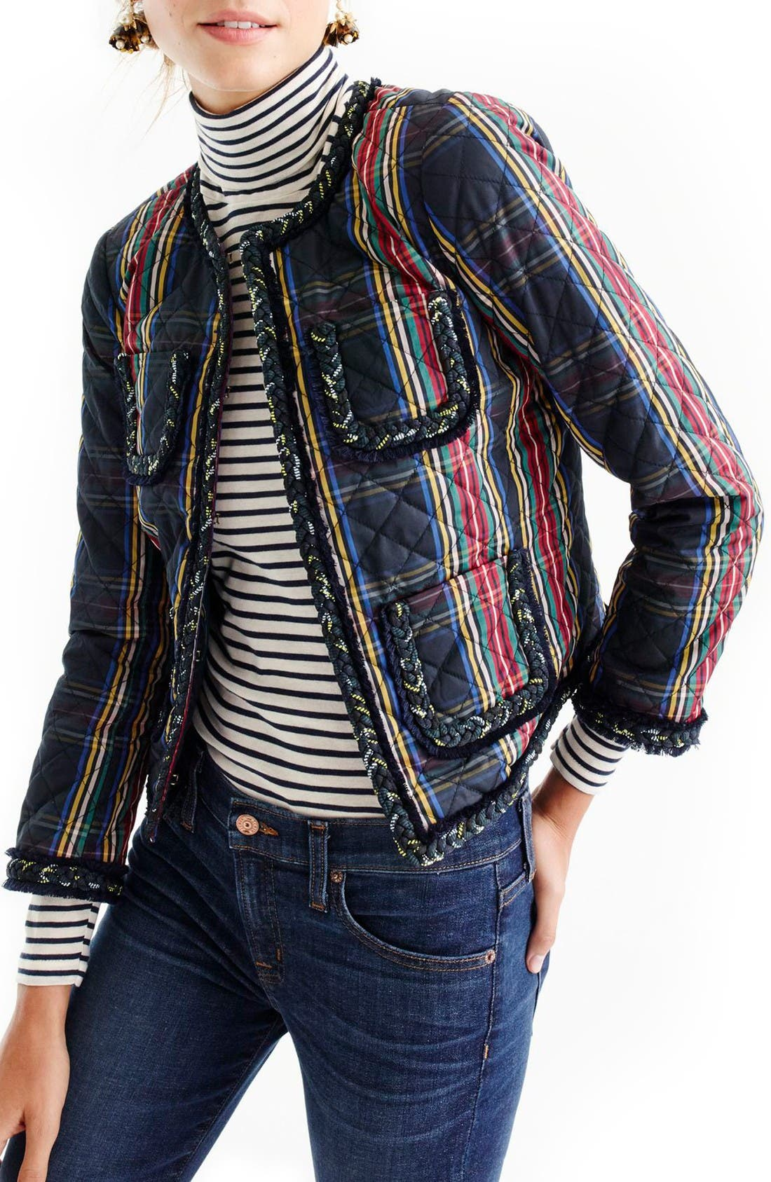Alternate Image 1 Selected - J.Crew Stewart Plaid Quilted Lady Jacket